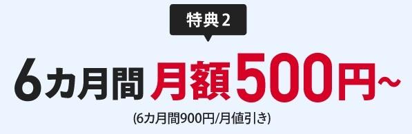 特典2:6ヶ月間 月額500円~(6ヶ月間900円/月値引き)