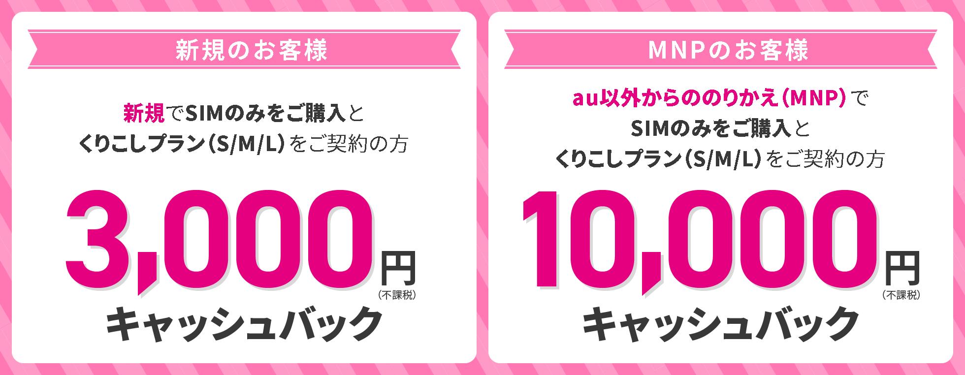 新規だと3,000円/MNPだと10,000円キャッシュバック!