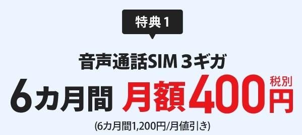 特典1:音声通話SIM3ギガ6ヶ月間月額400円(税別)(6ヶ月間1,200円/月値引き)