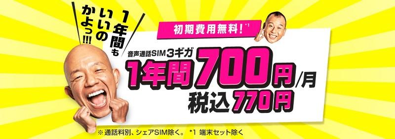 3ギガ1年間770円/月
