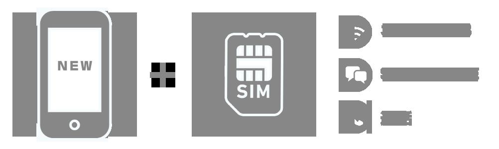 新規端末+音声SIM(ネット1GB+SMS/LINE+通話)