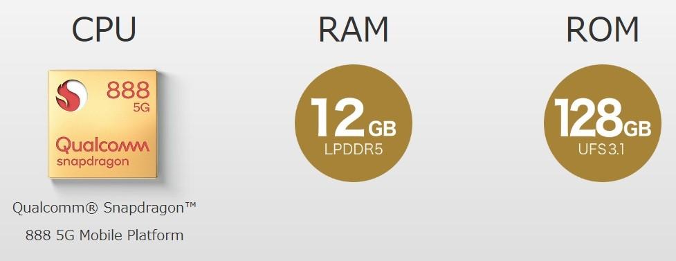 CPU:Qualcomm® Snapdragon™ 888 5G Mobile Platform/RAM12GB/ROM128GB