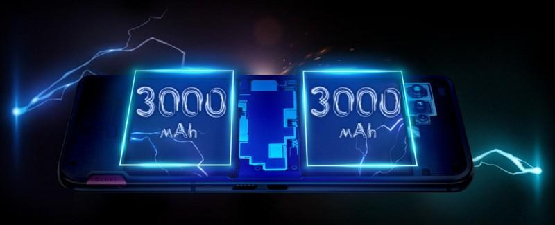 大容量6,000mAhバッテリー