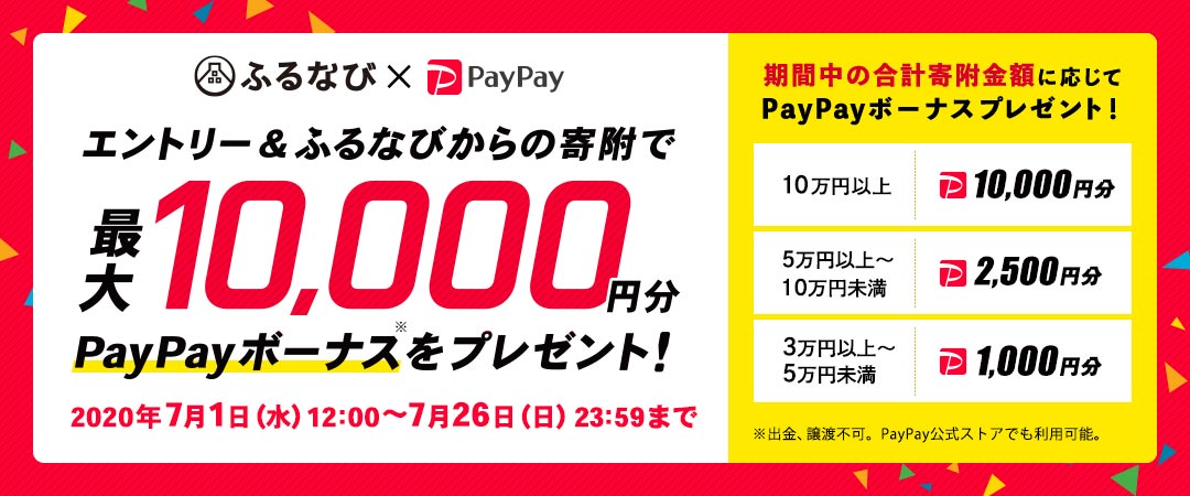 エントリー&ふるなびからの寄附で、期間中の合計寄附金額に応じて最大10,000円分のPayPayボーナスをプレゼント!