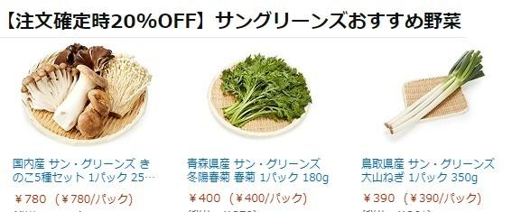 【2/4(木)9:59まで】サン・グリーンズおすすめ野菜20%OFF