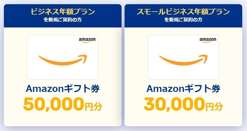 ビジネス年額プラン を新規ご契約の方:Amazonギフト券50,000円分/スモールビジネス年額プラン を新規ご契約の方:Amazonギフト券30,000円分