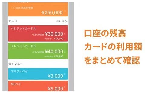 口座の残高/カードの利用額をまとめて確認
